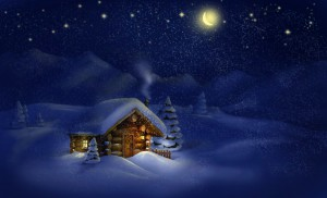 Cottage with twinkling lights
