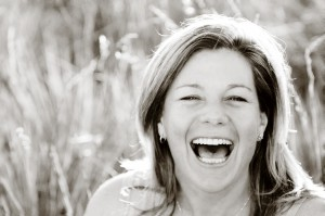 MA laughing in field B&W