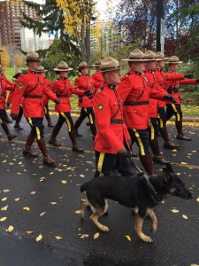 RCMP officer & dog marching in Edmonton