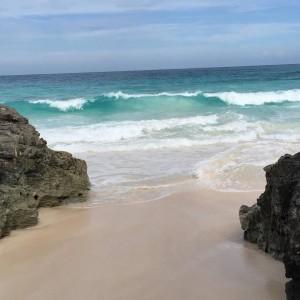 Water crashing through rocks on Eluethera beach
