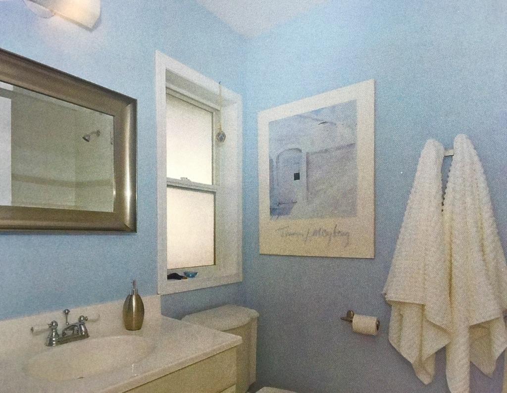 blue bathroom in calgary home