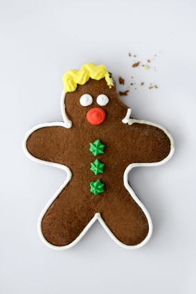 gingerbread man with bite out of head