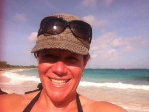 MA selfie on Bahamas beach
