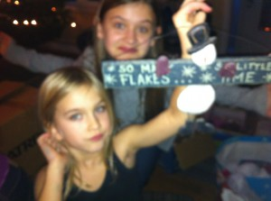 paige & ella with flake sign
