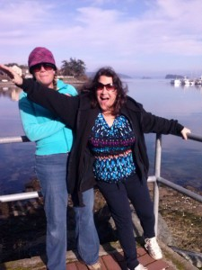 Lynne & MA goofing around on boardwalk