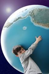 child hugging earth