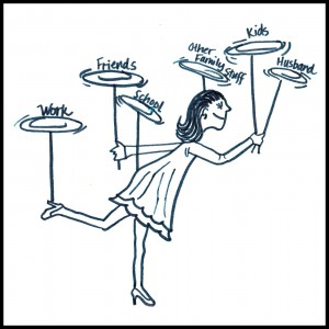woman spinning plates