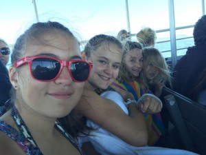 Alyssa, Holly, Paige and Ella on ferry