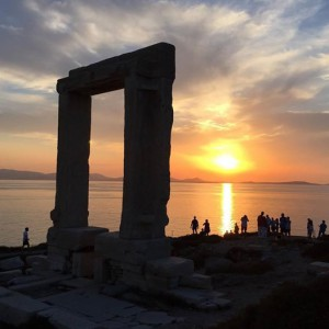Sunset on Naxos with ruins