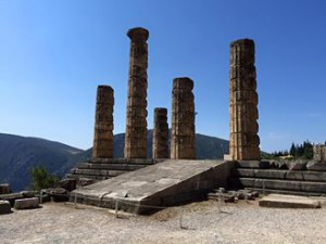 Temple of Apollo in Delphi with blue sky