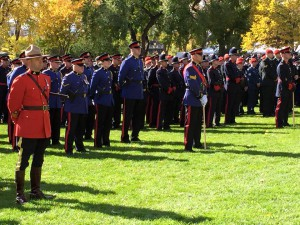 officers on lawn at Edmonton service