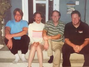 MA, George, Pat & Doug on front steps of MA's Calgary home
