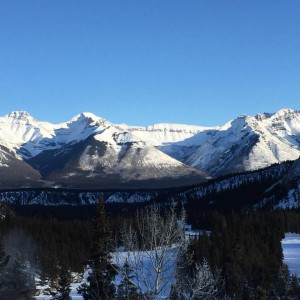 Blue sky and mountains in Banff