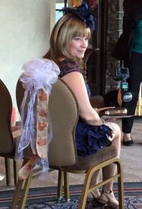 Tracey in chair at Ky's wedding