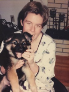MA with Sable as puppy in arms