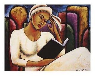 cool image of woman reading book
