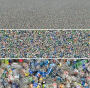 graphic of plastic water bottles