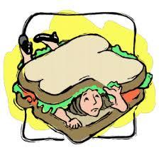 woman trapped in sandwich
