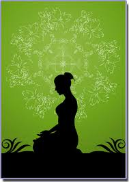 woman meditating green