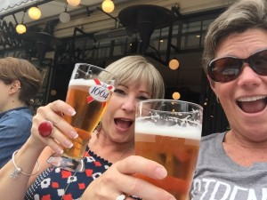 MA & Tracey cheers beer in Latin Quarter