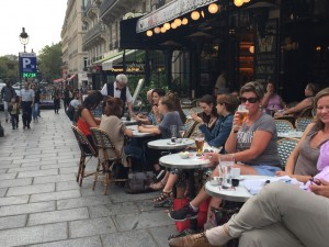 MA drinking beer in Latin Quarter