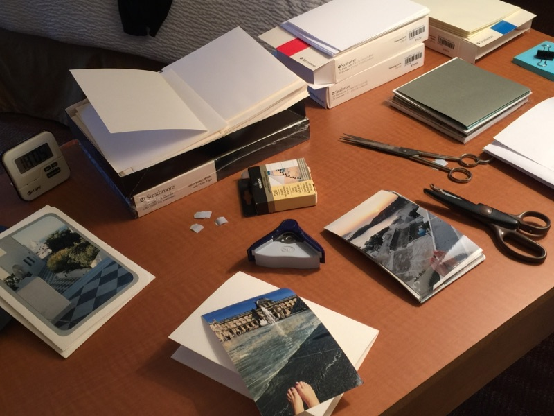card-making-supplies-on-hotel-room-desk