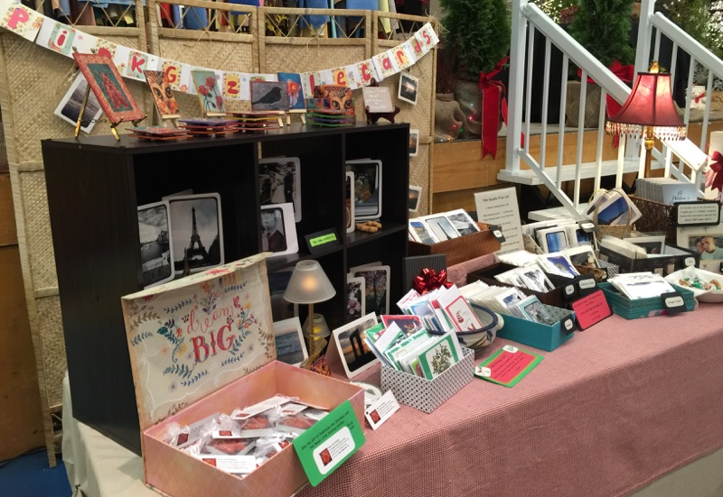 Pink Gazelle Cards booth, First Chance Christmas Craft Fair, Sidney, BC
