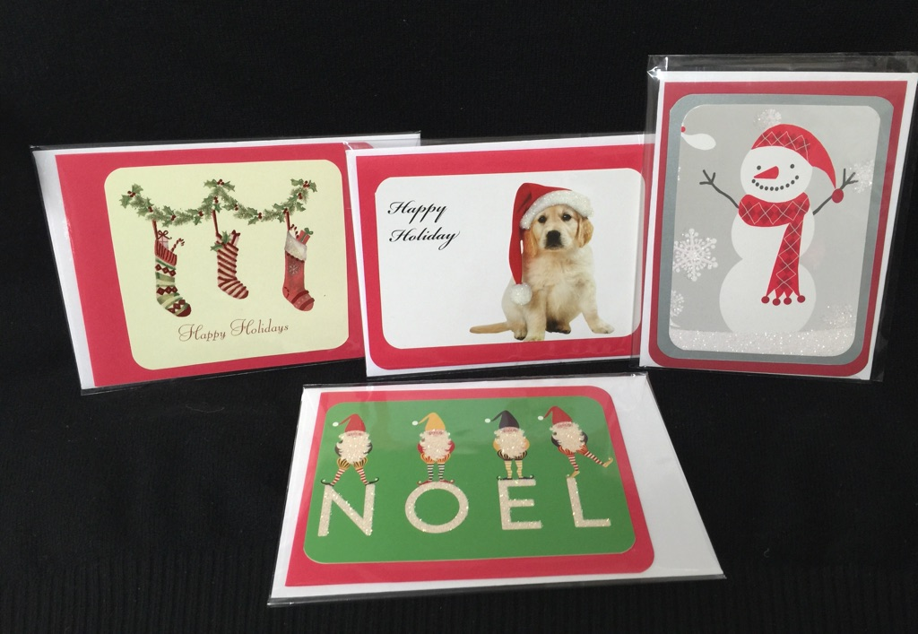recyled-christmas-cards-four-red-with-puppy